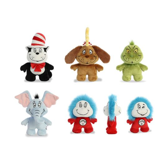 8c61ea60 Aurora World Plushes - Dr. Seuss - SET OF 5 DOODS (Grinch, Cat in the Hat,  Thing 1 & 2, Horton & Max: BBToyStore.com - Toys, Plush, Trading Cards, ...