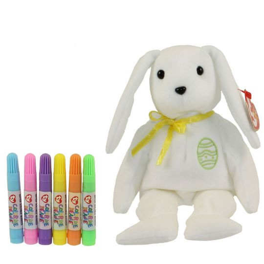 TY Beanie Baby - COLOR ME BUNNY w  markers (Yellow Ribbon   Green Egg) (7.5  inch)  BBToyStore.com - Toys 1ca90ea6e9f