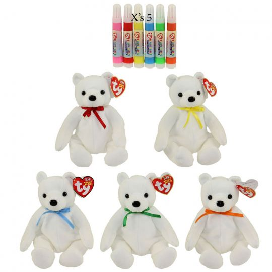 TY Beanie Babies - COLOR ME SMALL BEARS (Set of 5 Replacements)(7 5 inch)