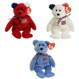 TY Beanie Babies - AMERICA Bears (Set of 3 Colors - Red 223cdfe3f391