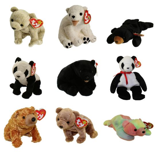 TY Beanie Babies - SET OF 9 ANIMAL BEARS (Almond 156c147eb79d