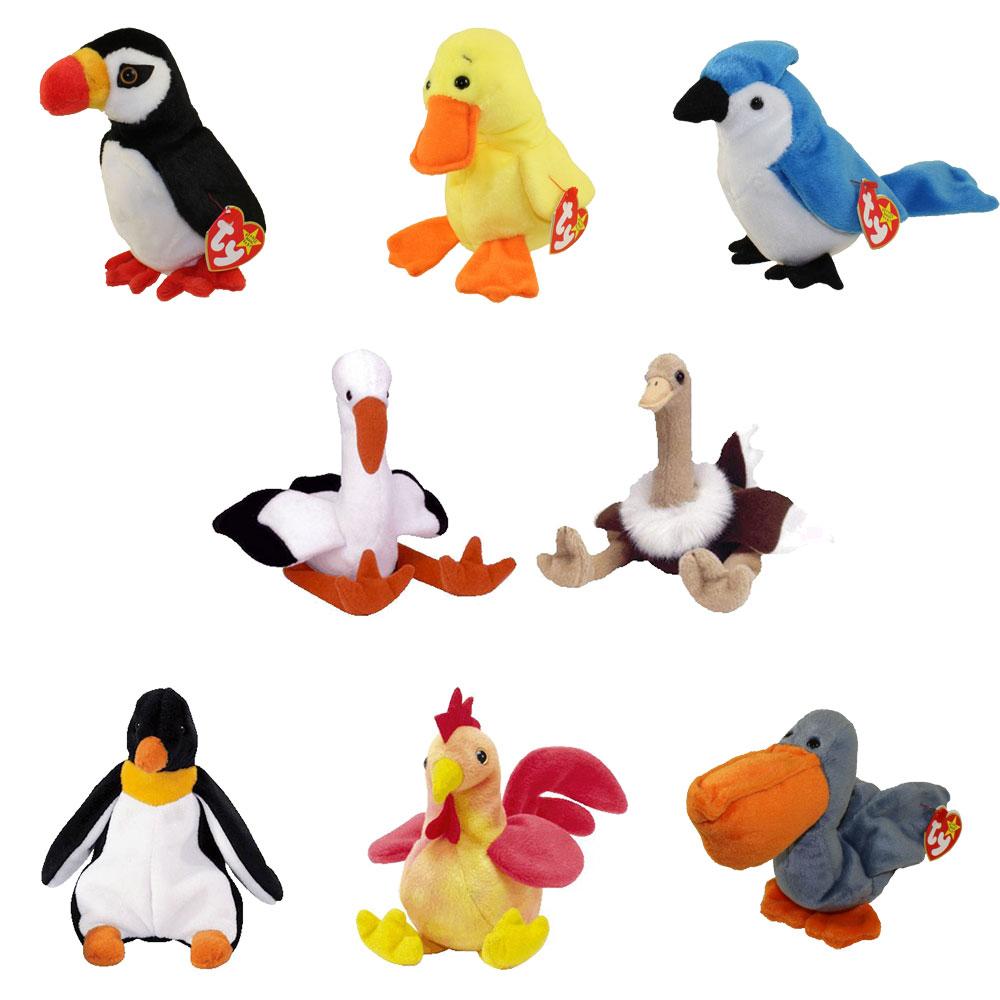 Ty Beanie Babies Birds 2 Set Of 8 Puffer Quackers