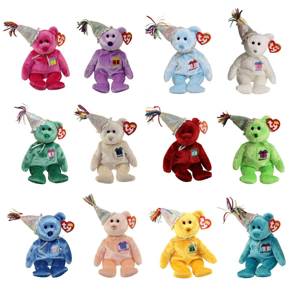RETIRED MINT TY BEANIE BIRTHDAY BEARS WITH HATS