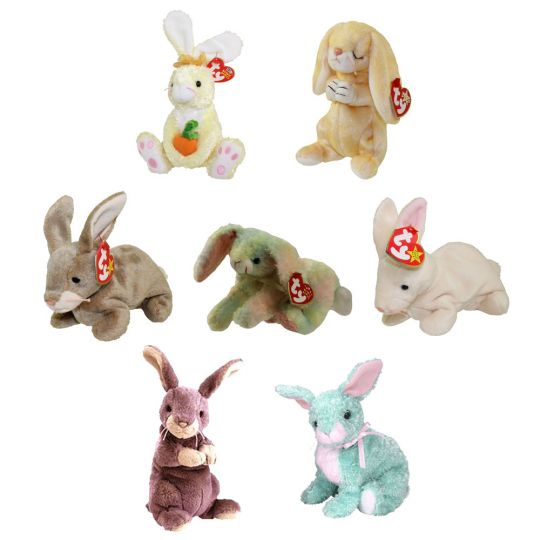 b462477897b TY Beanie Babies - SET OF 7 BUNNIES (Nibbly