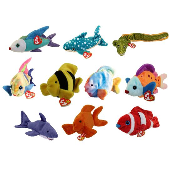 63c2fc524e0 TY Beanie Babies - SET OF 10 FISH   SEALIFE (Coral