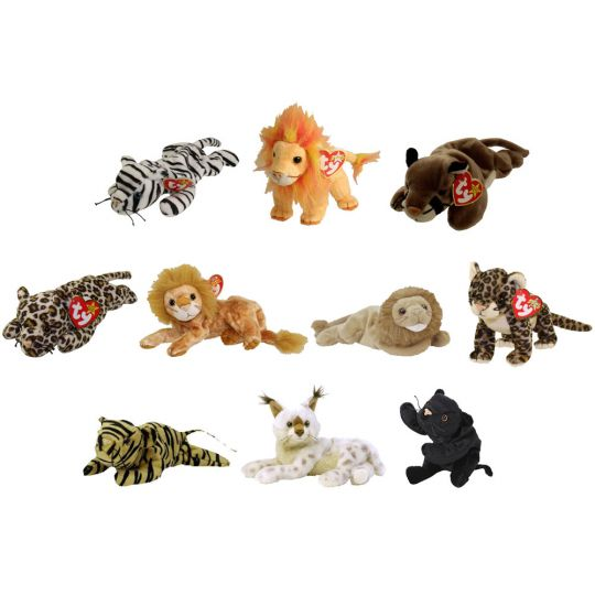 63aeff74537 TY Beanie Babies - WILD CATS (Set of 10)(Blizzard