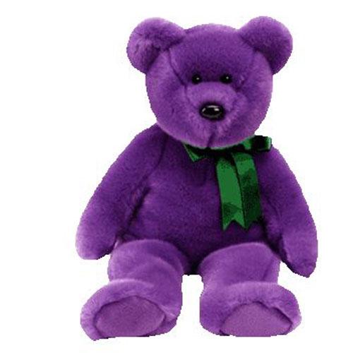 TY Beanie Buddy EMPLOYEE the Purple Bear 14 inch