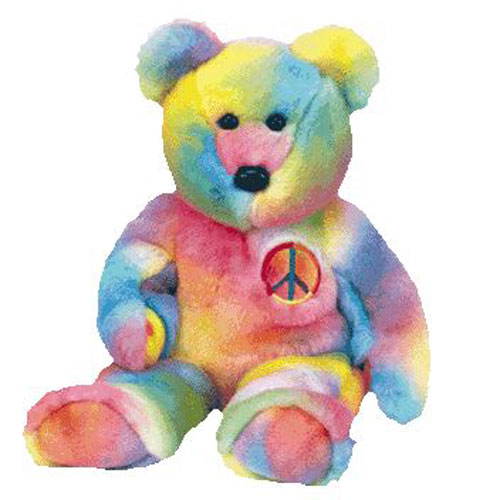 TY Beanie Buddy - PEACE the Ty-Dyed Bear (dark version) (14 inch)   BBToyStore.com - Toys 0c4b8724b07