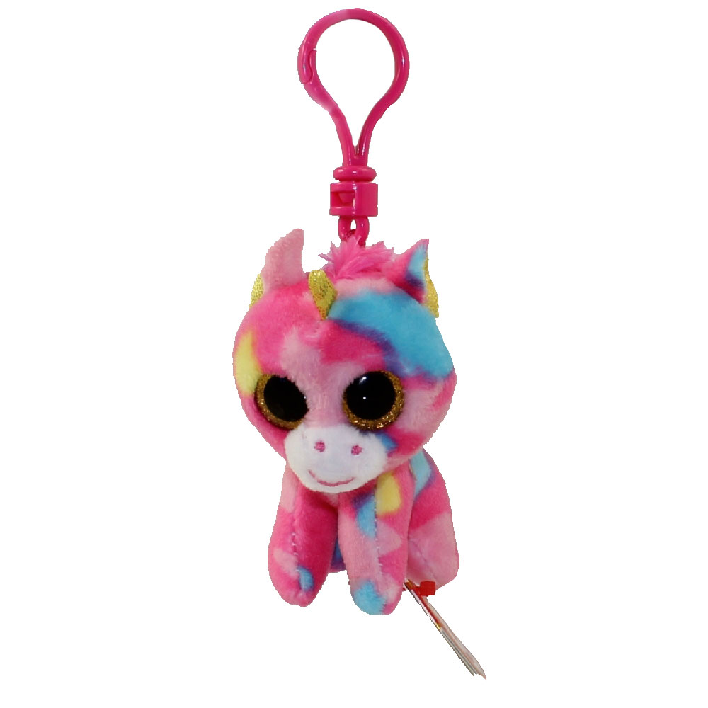 955ad2c1e38 TY Beanie Boos - FANTASIA the Multicolor Unicorn (Glitter Eyes) (Plastic  Key Clip