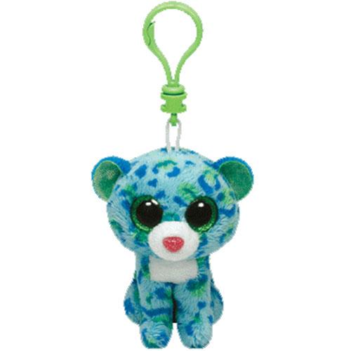 95716c2ebfd TY Beanie Boos - LEONA the Blue Leopard (Glitter Eyes) (Plastic Key Clip