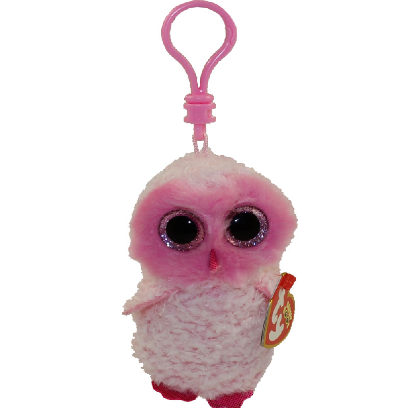 599ccc803ea TY Beanie Boos - TWIGGY the Pink Owl (Glitter Eyes) (Plastic Key Clip)   BBToyStore.com - Toys