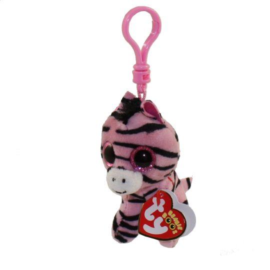 Ty Beanie Boos Zoey The Pink Zebra Glitter Eyes Plastic Key