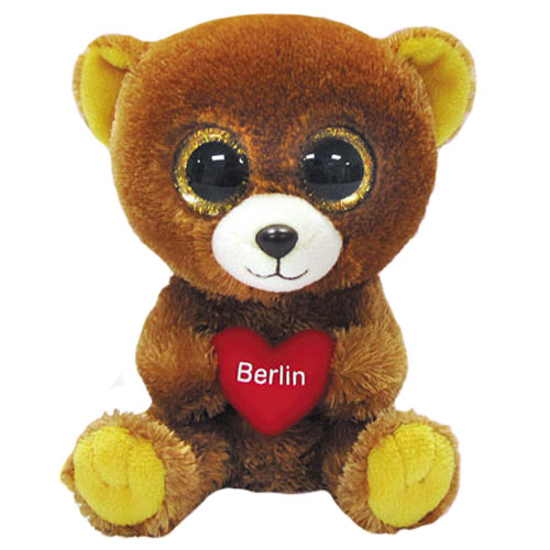 Ty Beanie Boos Berlin The Bear Glitter Eyes Regular Size 6