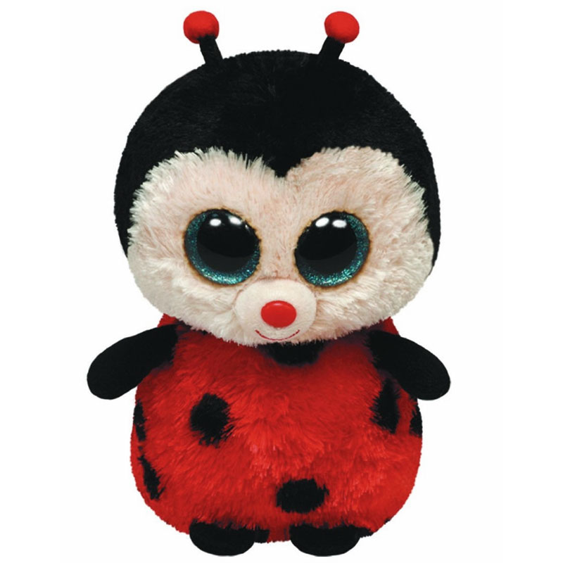 ty beanie boos - bugsy the ladybug  glitter eyes   regular size - 6 inch   bbtoystore com