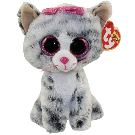 TY Beanie Boos - KIKI the Grey Tabby Cat (Glitter Eyes) (Regular ... 2c08c28a3c3b