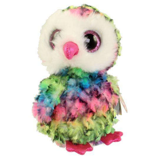 TY Beanie Boos - OWEN the Multicolor Owl (Glitter Eyes) (Regular Size - 7  inch)  1st Version   BBToyStore.com - Toys 445da88f0fd7