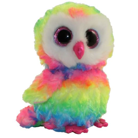 TY Beanie Boos - OWEN the Multicolor Owl (Glitter Eyes) (7 inch)  2nd  Version - Bright Colors   BBToyStore.com - Toys c06d89b572f