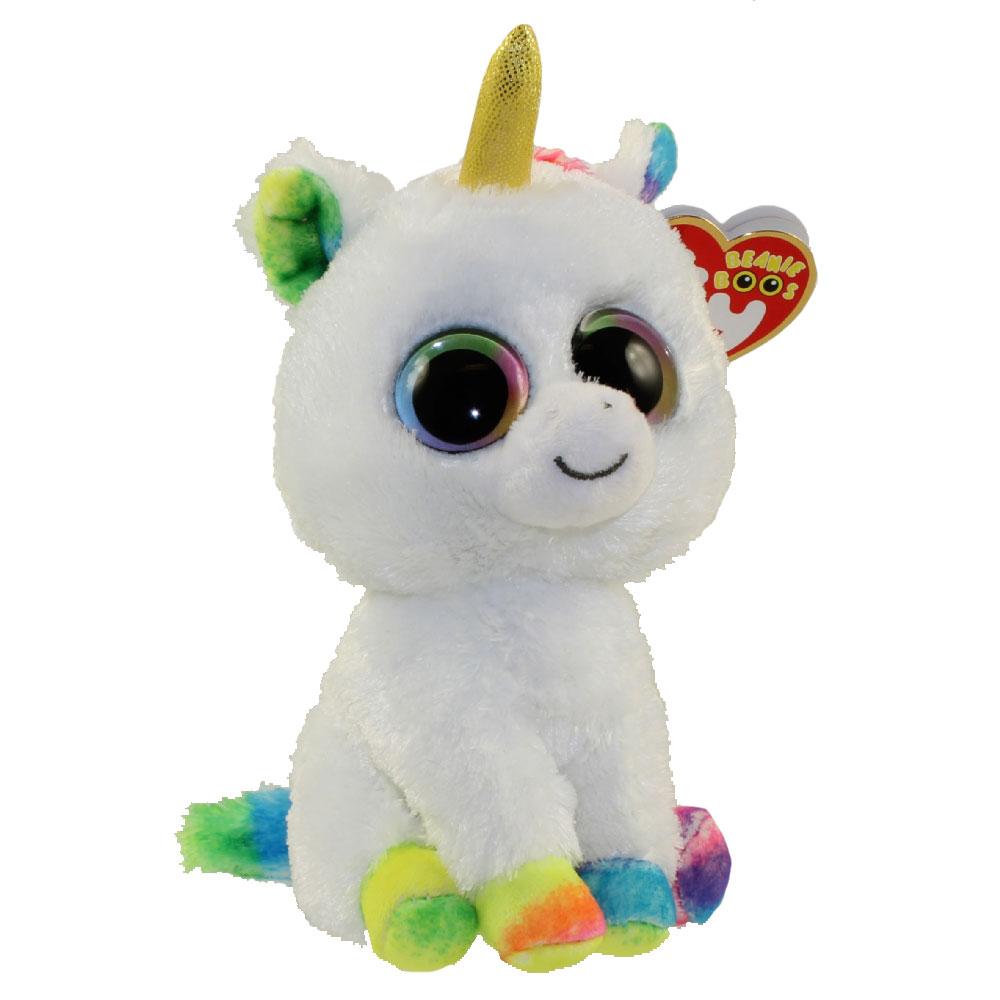 Ty Beanie Boos Pixy The Unicorn Rainbow Eyes Tan Horn