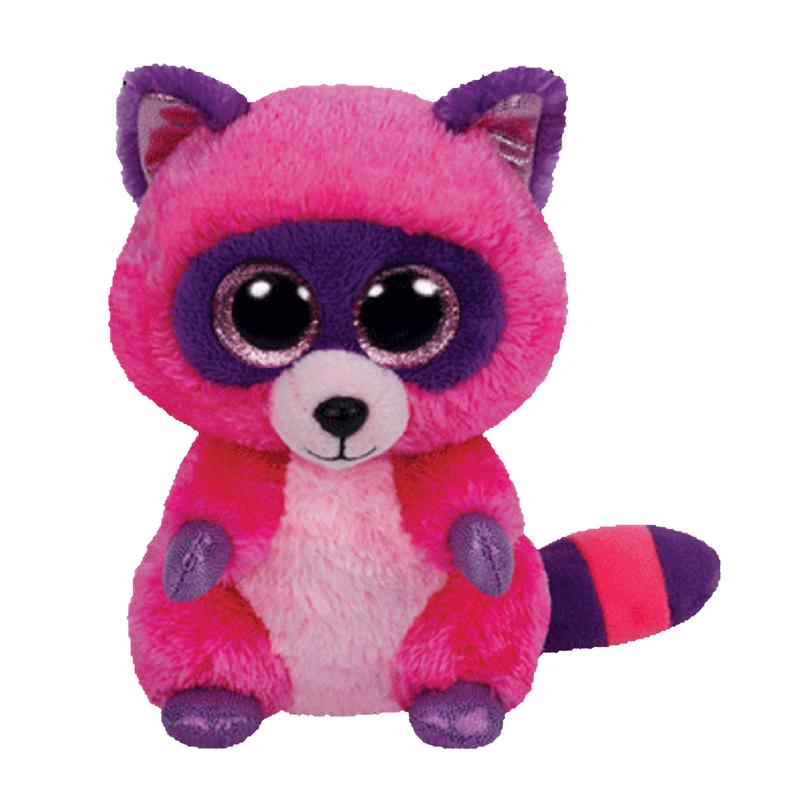 Ty Beanie Boos Roxie The Raccoon Glitter Eyes Regular Size 6