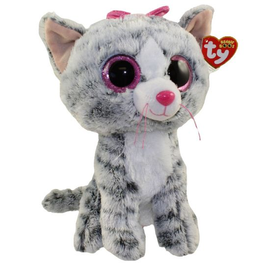 TY Beanie Boos - KIKI the grey Tabby Cat (Glitter Eyes) (Medium Size - 9  inch)  BBToyStore.com - Toys c57a8bff8c17