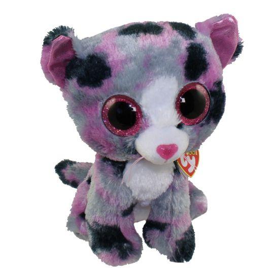 TY Beanie Boos - LINDI the Grey   Purple Cat (Glitter Eyes) (Medium Size -  9 inch)  BBToyStore.com - Toys fdec9265b6a