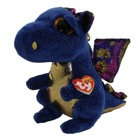 Ty Beanie Boos Saffire The Blue Dragon Glitter Eyes Medium Size 9 Inch