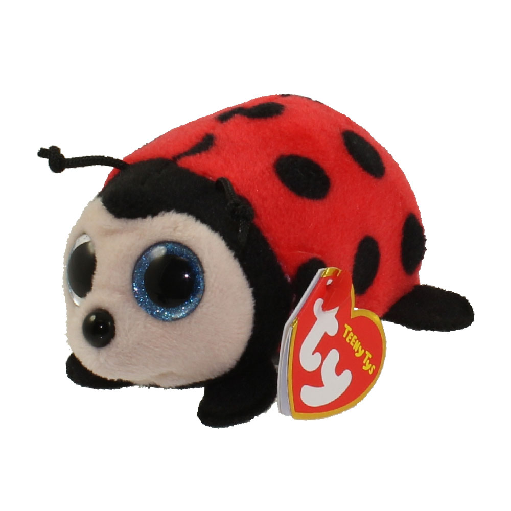 ty beanie boos - teeny tys stackable plush - trixy the ladybug  4 inch   bbtoystore com