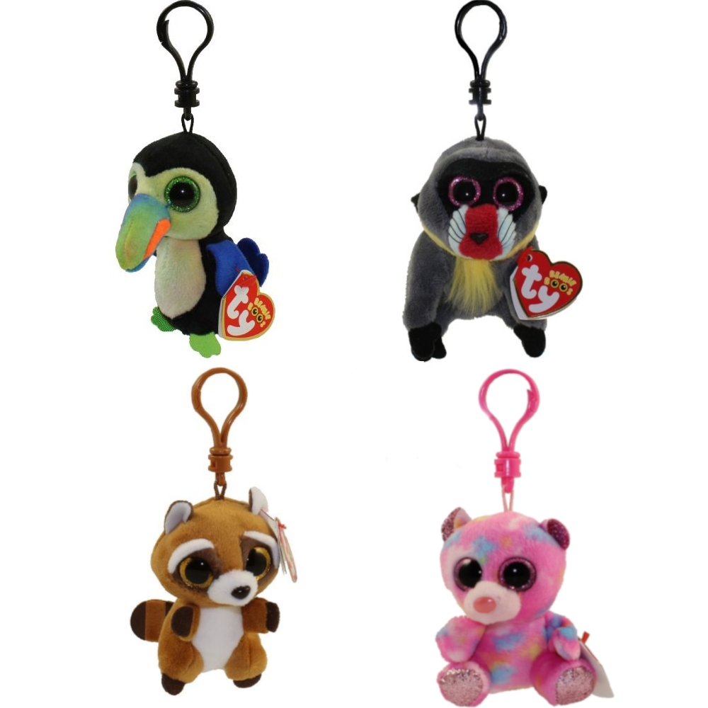 TY Beanie Boos - SUMMER 2018 Releases SET of 4 (Plastic Key Clips) (Rusty, Beaks, Wasabi & Franky)