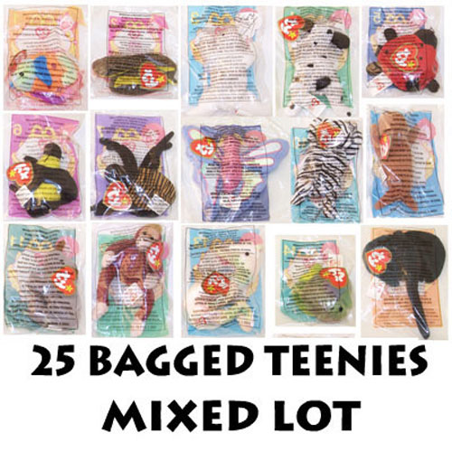cd5612379ab TY McDonald s Teenie Beanies - Mixed Lot of 25 Teenies (Sealed in bags)   BBToyStore.com - Toys
