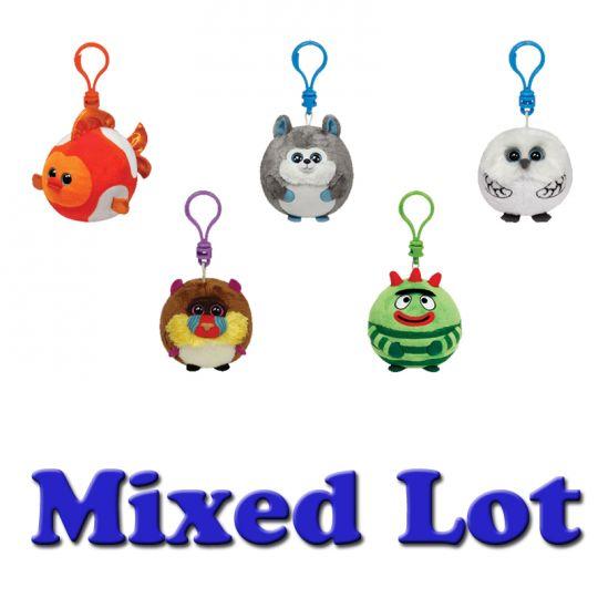 Bulk Mixed Lot of 25 Random Key Clips - 2.5 inch TY Beanie Baby Ballz