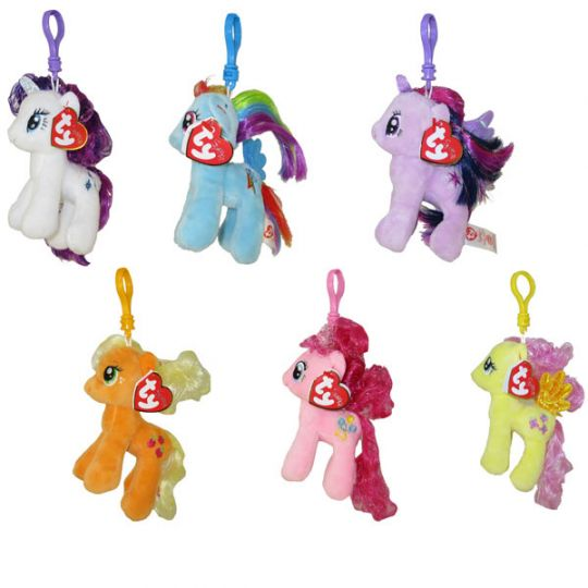 TY Beanie Baby Key Clips - My Little Pony - SET OF 6 with Glitter Hairs (5  inch)  BBToyStore.com - Toys 624c339963ea