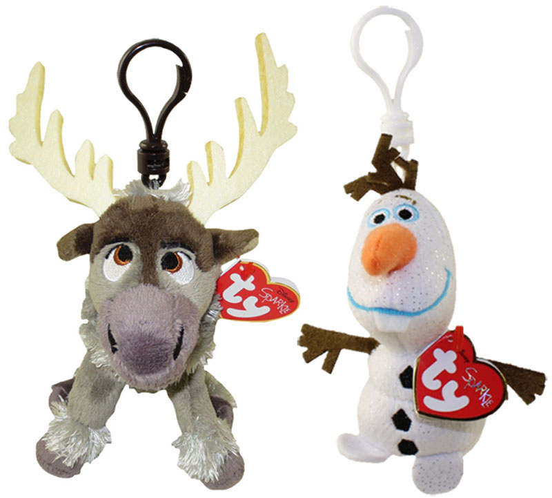 TY Beanie Baby - Set of 2 OLAF   SVEN (Disney Frozen) (Plastic Key Clips)   BBToyStore.com - Toys 0a5eb1f011e
