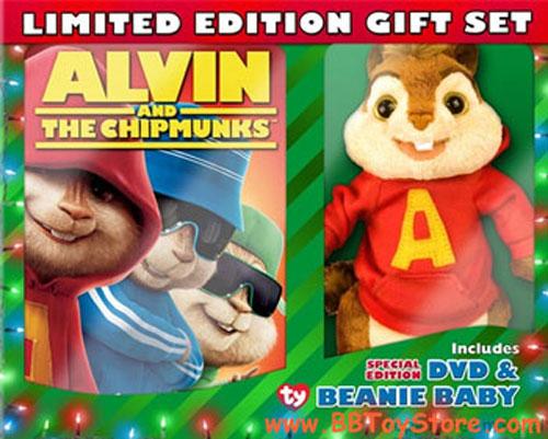 TY Beanie Baby - ALVIN the Chipmunk - BOX SET with DVD  BBToyStore.com -  Toys 32da26227b8e