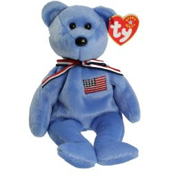 TY Beanie Baby - AMERICA Bear ( Blue Version ) w Japanese Writing Inside  Hang 8f7f45e0481b