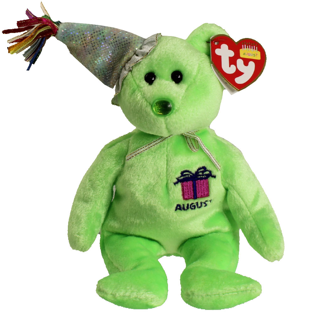 TY Beanie Baby - AUGUST the Teddy Birthday Bear (w  hat) (9 inch)   BBToyStore.com - Toys b270334f94f