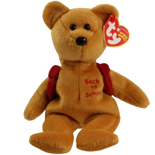 TY Beanie Baby - BOOKS the Bear (Red Backpack Version) (8.5 inch)   BBToyStore.com - Toys c185e5172ba