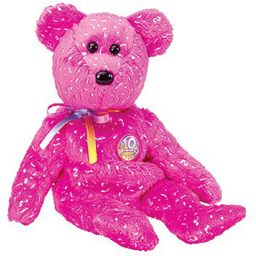 TY Beanie Baby - DECADE the Bear (Hot Pink Version) (BBOM July 2003) (8.5  inch)  BBToyStore.com - Toys 4d8014c780f