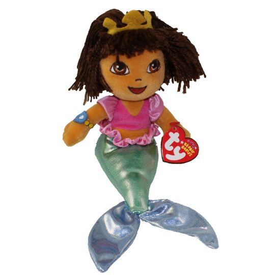 TY Beanie Baby - DORA the Explorer (Mermaid) (7 inch)  BBToyStore.com -  Toys 02146c8ba89