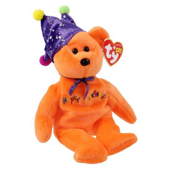 3d138dc8d39 TY Beanie Baby - HAPPY BIRTHDAY the Bear ( Orange - w  Hat ) (9 inch)   BBToyStore.com - Toys