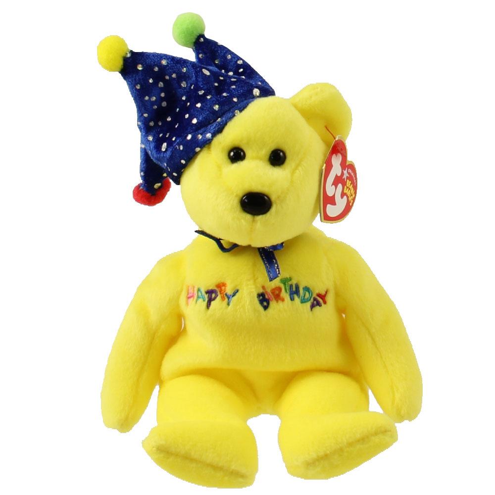 TY Beanie Baby - HAPPY BIRTHDAY the Bear ( Yellow - w  Hat ) ( e8a825995bcb