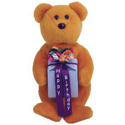 TY Beanie Baby Mini - HAPPY BIRTHDAY the Bear ( Brown - w  Present ) (5.5  inch)  BBToyStore.com - Toys 36fdc83e53e