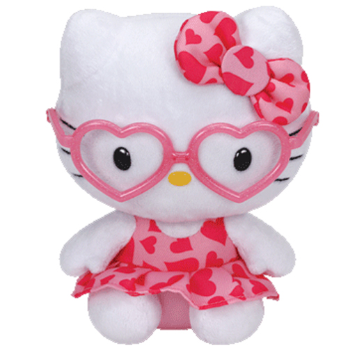 TY Beanie Baby - HELLO KITTY (Dark Pink with Pink Heart Dress   Glasses - 6  inch)  BBToyStore.com - Toys c95cc16a607