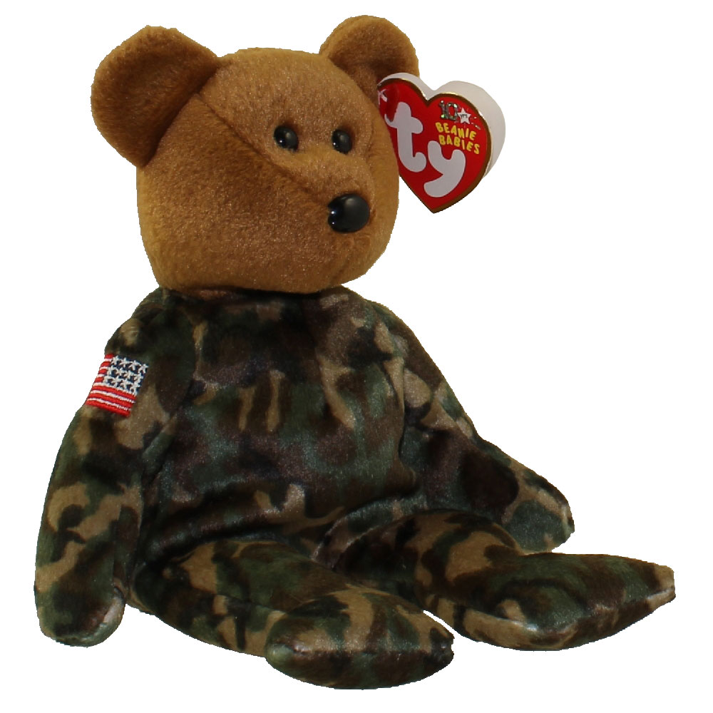 TY Beanie Baby - HERO the USO Military Bear (w/ US Reversed Flag on Arm) (8.5 inch): BBToyStore