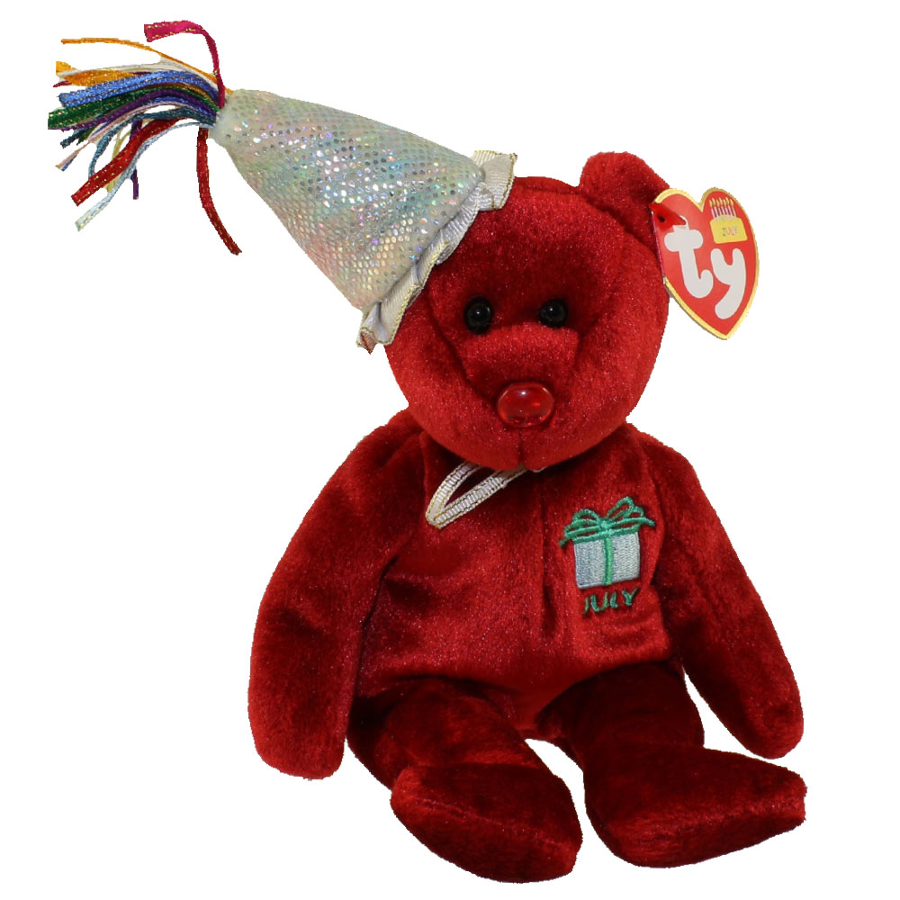Ty Beanie Baby July The Teddy Birthday Bear W Hat 9