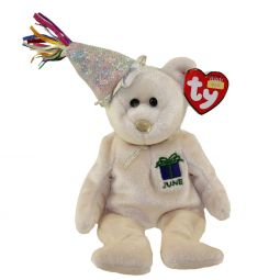 TY Beanie Baby - JUNE the Teddy Birthday Bear (w  hat) (9.5 f7af2c8653f7