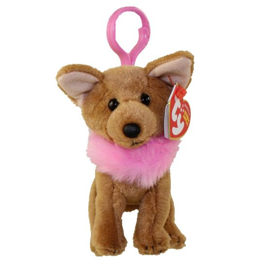 Ty Beanie Baby Divalectable The Chihuahua Dog Plastic Key Clip