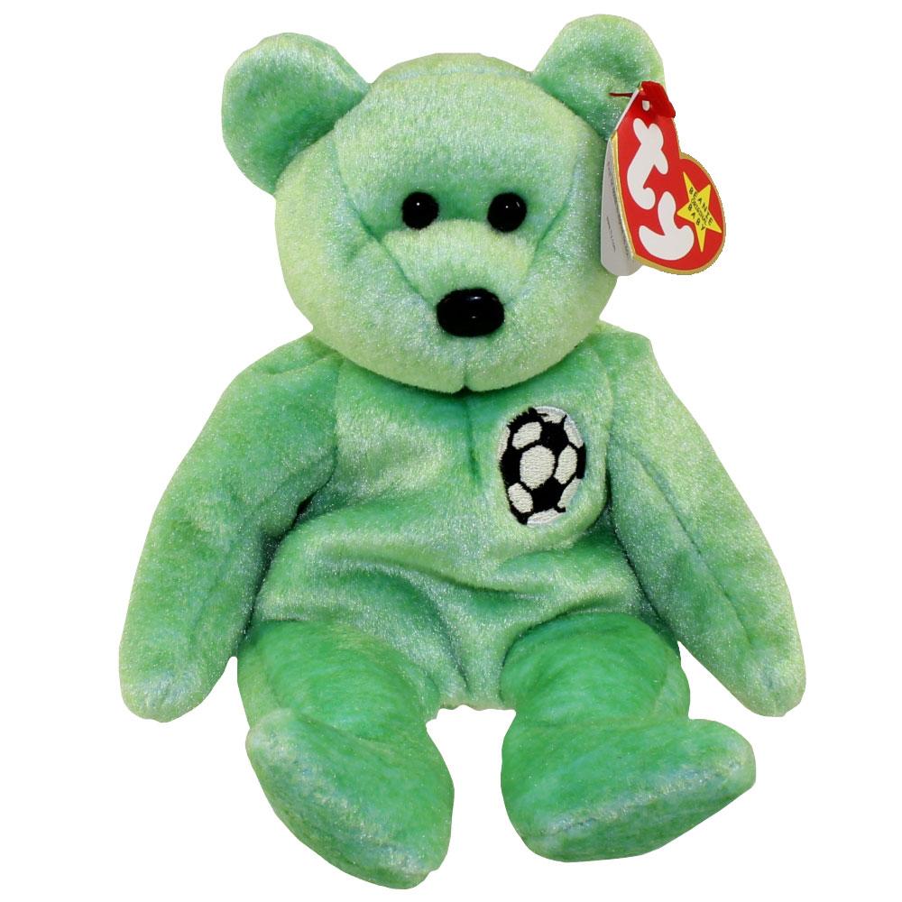 MWMTs Stuffed Animal PRISTINE! TY Beanie Baby KICKS the Soccer Bear 8.5 inch