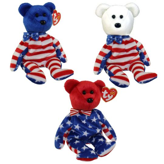 TY Beanie Babies - LIBERTY BEARS (Set of all 3 - Red 27c5e53a0392