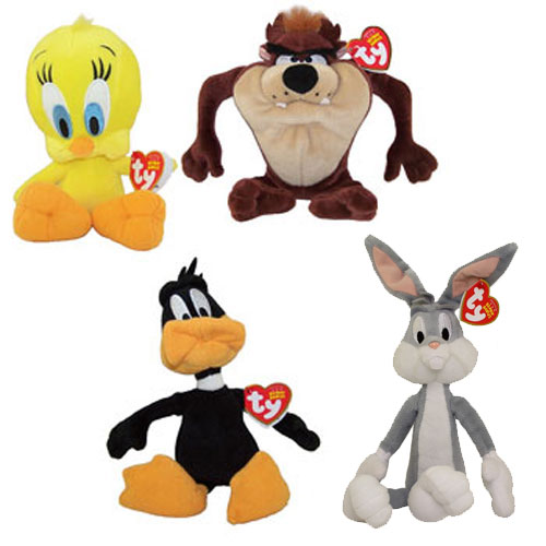 Daffy Duck Bugs Bunny mini bean bag set Looney Tunes Warner Bros new all tags