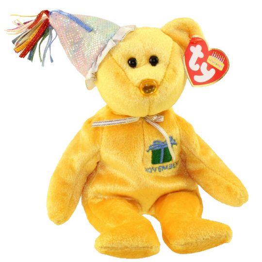 TY Beanie Baby - NOVEMBER the Teddy Birthday Bear (w  hat) (9.5 inch)   BBToyStore.com - Toys e35f6f9c6b9d